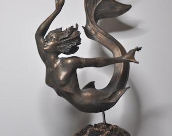 Mermaid Statue, bronze finish