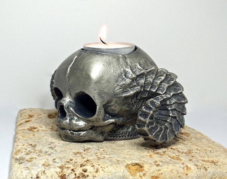 Satyr Fetal Skull Tealight Holder pewter finish image 0