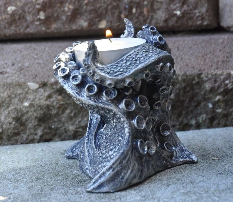 Kraken Tentacles Tealight Holder pewter finish image 0
