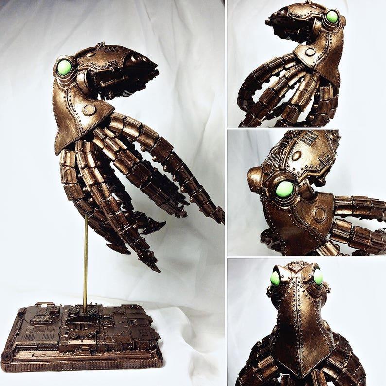 Mecha Kraken Statue Steampunk Brass Finish image 0