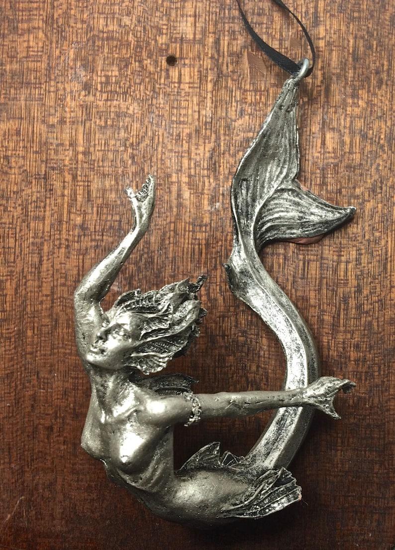 Mermaid Ornament Pewter Finish image 0