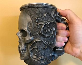 Necromancer Skull Mug. Pewter Finish