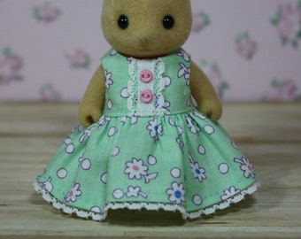 Calico Critters Dress, Mint Green Floral Dress with Lace and Buttons, Calico Critter Clothing, Calico Critter Clothes, Critter Accessories