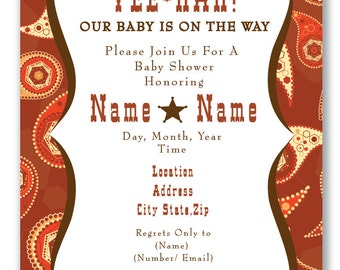Customizable Paisley Baby Shower Invitation - [Digital File ONLY]
