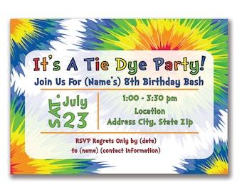 Tie Dye Birthday Invitation Tie Dye Invitation Tie Dye