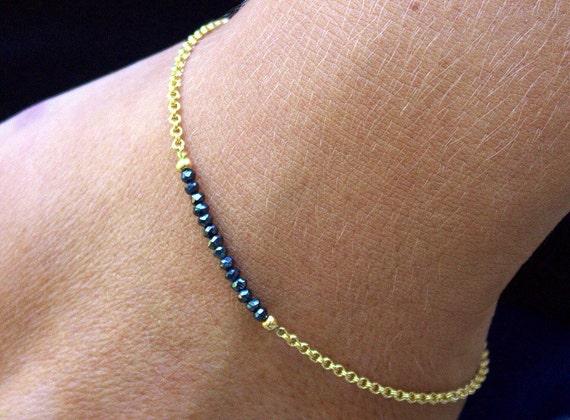 gift for her April birthstone Pearl and diamond bracelet raw black diamonds jewelry