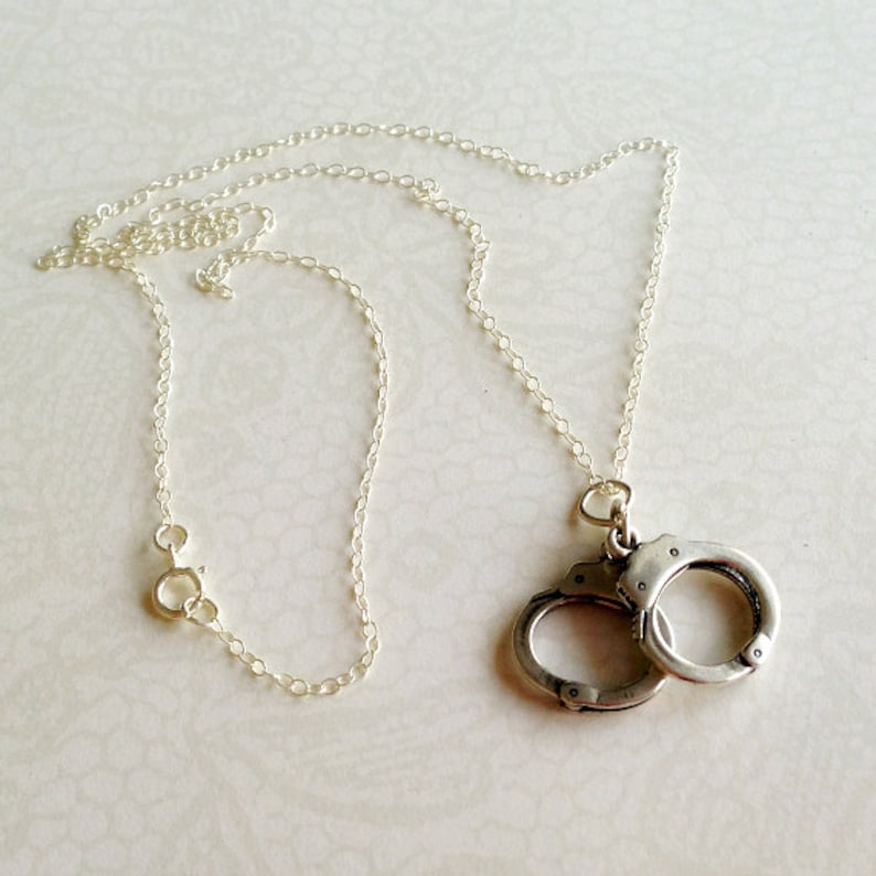 Charm Jewellery Handcuff Necklace Sterling Silver Jewelry