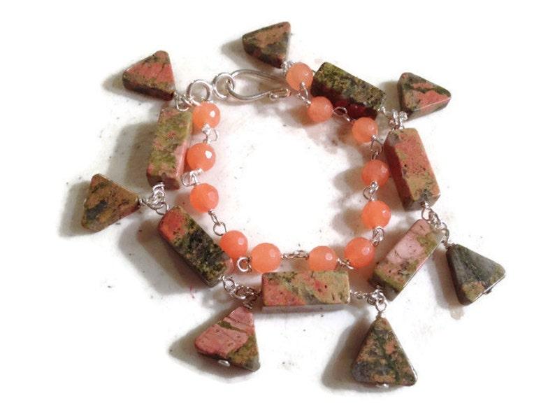 Double Strand Unakite Bracelet Green Sterling Silver Jewelry Orange Jade Gemstone Jewellery Fashion Statement