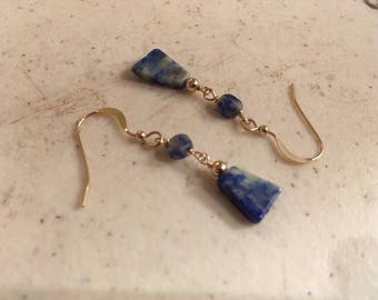 Sodalite Earrings - Navy Blue Gemstone Jewellery - Gold Jewelry -  Dangle - Denim