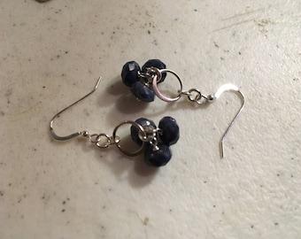 Sapphire Earrings - Sterling Silver Jewelry - Navy Blue Gemstone Jewellery - Wire Wrapped - Fashion