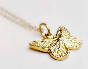 Butterfly Necklace - 24K Gold Vermeil Jewellery - Gold Jewelry - Gift for Her - Charm