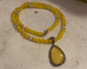 Yellow Necklace - Jade Jewelry - Gold Jewelry - Chalcedony and Diamond Pendant - Luxe