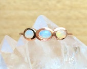 3 opal and solid 14k rose gold opal ring