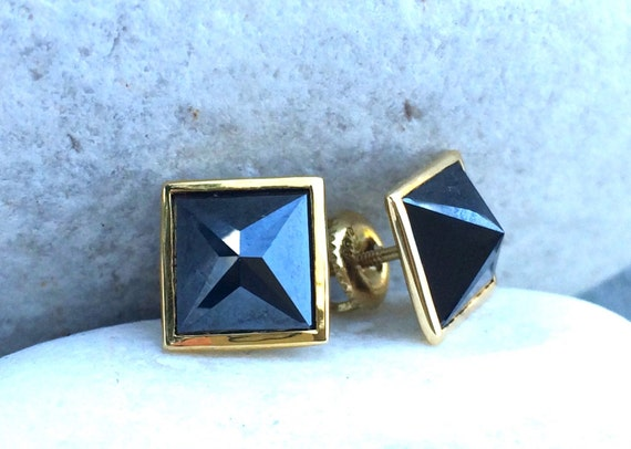 Carbonado untreated black diamond pyramid stud earrings in solid 18k gold