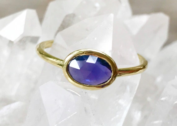 RESERVED FIR Z Untreated blue violet rose cut sapphire and solid 18k gold ring