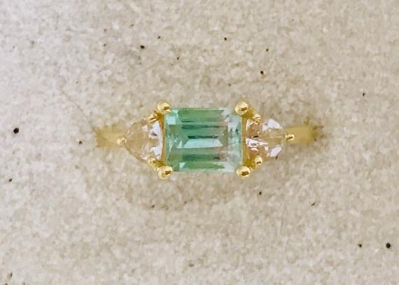 Paraiba color bi color tourmaline and phenakite solid 18k gold ring
