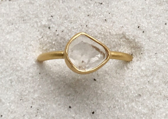 Nigerian phenakite crystal and solid 22k gold ring