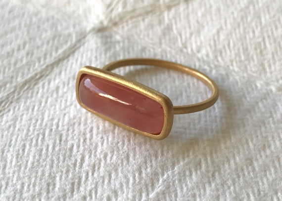 Ortiz rhodochrosite and solid 22k gold ring