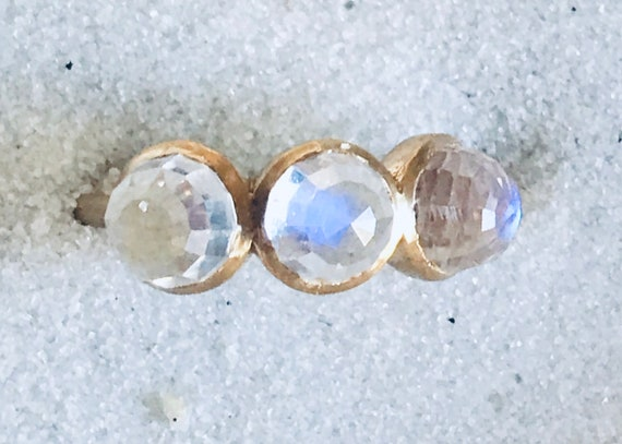 Moonstone discoball three wishes ring in solid 22k gold