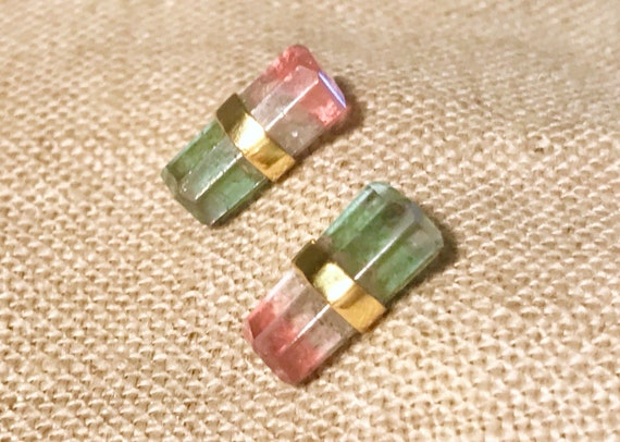 Watermelon tourmaline and solid 18k gold earrings studs