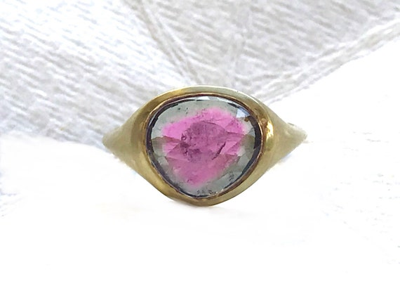 Watermelon tourmaline amd solid 18k gold ring