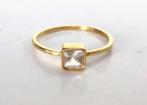 Nigerian phenakite squate cut solitaire and solid 18k gold ring