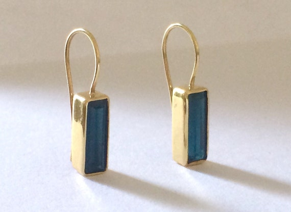 Blue tourmaline indicolite and solid 18k gold earrings