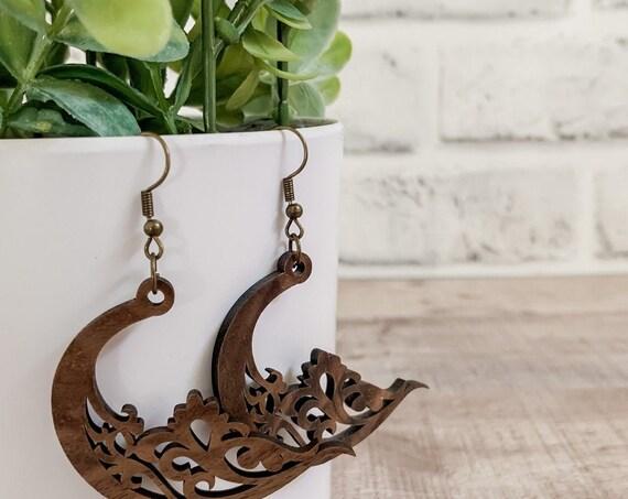 Brie Earrings  | Wood Earrings |  Boho Earrings | Western Earrings | Lightweight Earrings | Celestial Earrings | Moon Earrings | Earrings