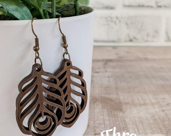 Caia Earrings  | Wood Earrings |  Boho Earrings | Western Earrings | Lightweight Earrings |Feather Earrings | Peacock Earrings | Earrings