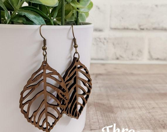 Adi Earrings  | Wood Earrings |  Boho Earrings | Western Earrings | Lightweight Earrings |Leaf Earrings | Earrings
