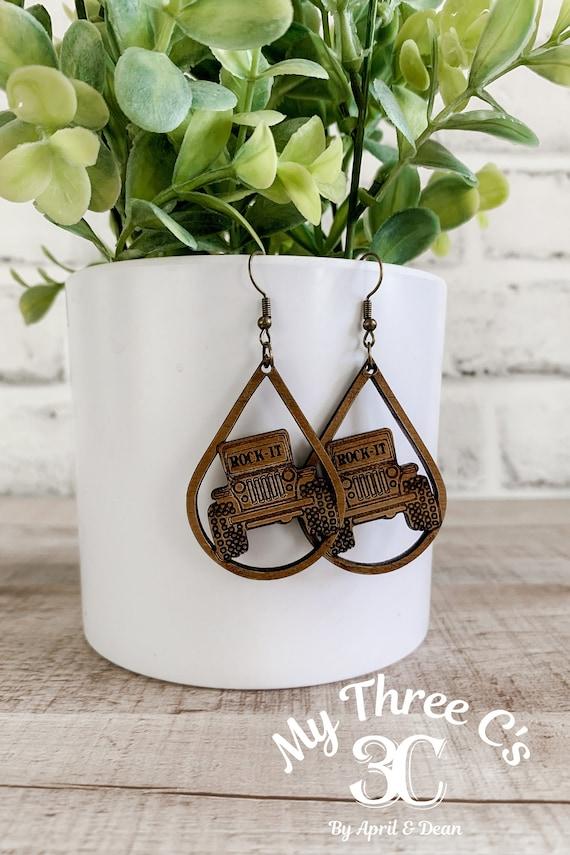 Jeep Earrings  | Wood Earrings |  Boho Earrings | WesternEarrings  Earrings | Lightweight |4x4 Earrings | Earrings