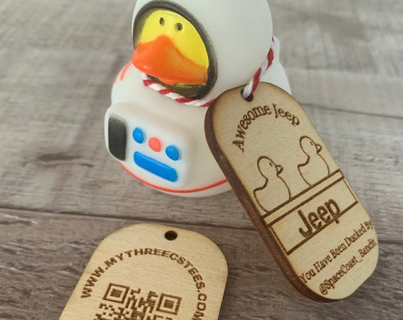 Duck Duck Jeep Wood Dog Tags, Tags for Ducks, 25/50/100, *Rubber Ducks NOT Included