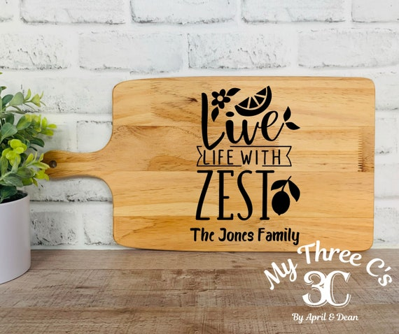 Personalized Cutting Boards | Live Life With Zest | House Warming | Real Estate Gifts | Laser Engraved | Customized Cutting Board