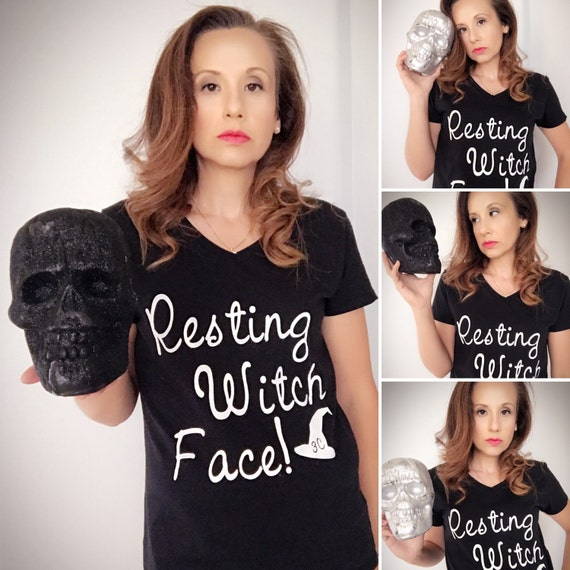 Resting Witch Face Halloween V Neck Tee