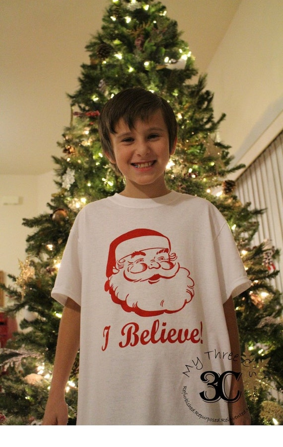 "Youth Unisex ""I Believe"" in Santa T-Shirt, Vintage Santa, Kids Tee"
