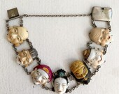 Hand Painted 40 s Japanese Porcelain and Sterling Toshikane Bracelet
