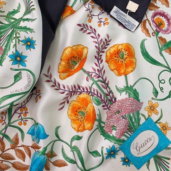 Vintage 70s Gucci Accornero Flora Silk Scarf! - image 1