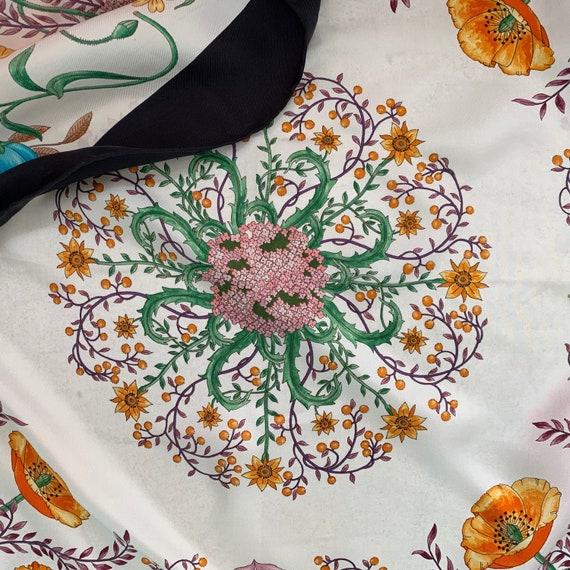 Vintage 70s Gucci Accornero Flora Silk Scarf! - image 4