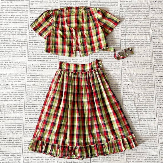 Unfinished True Vintage 1930's 1940's Plaid Separa