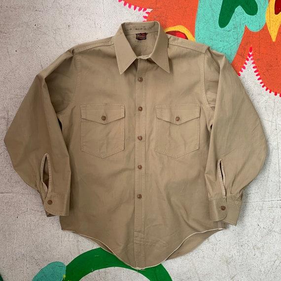 Vintage 40s/50s Dickies Service Khaki Work Shirt!
