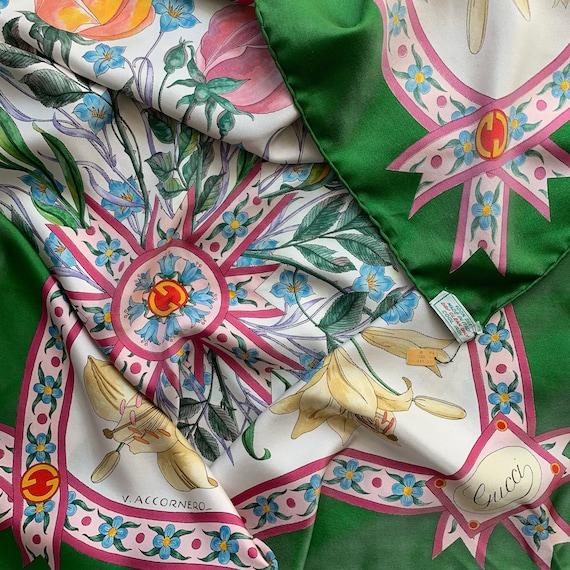 Vintage 70s Gucci Accornero silk scarf! - image 1