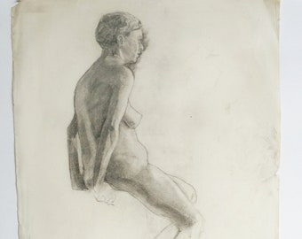 Figure study, 1932 , original drawing, charcoal drawing