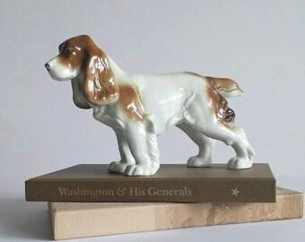 Vintage dog figurine, large porcelain dog, Springer Spaniel, Gerold Porzellan Germany