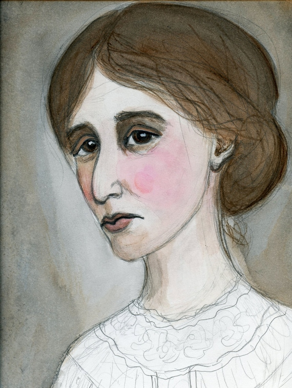 Virginia Woolf painting  Original watercolor  A4 size  A room of my own