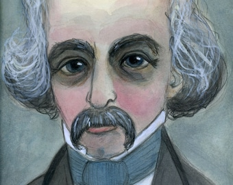 Nathaniel Hawthorne, Art Print, Writers Portrait, Literary Illustration (6x8) Victorian Goth, The House of the Seven GablesGift for Writers