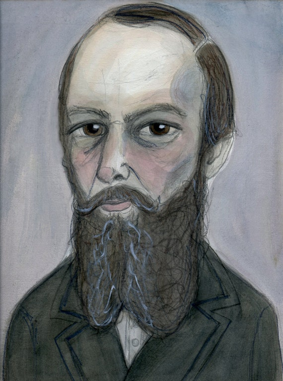 The portrait of russian writer Fyodor Dostoyevsky  card