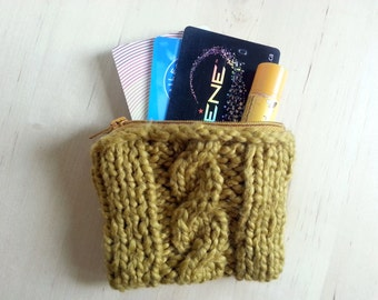Cable Knit Zippered Coin Purse in Mustard