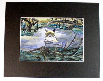 Grumpy Cat in the Swamp of Sadness - Matted Original Drawing