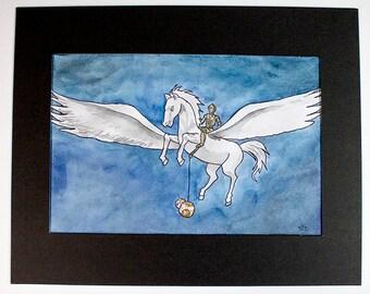 Pegasus and Droids - Matted Original Drawing