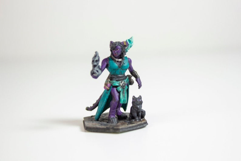 Female Tiefling Sorcerer/Wizard - 3D Printed & Hand Painted Miniature